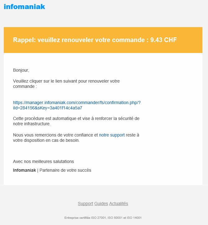Image exemple mail phishing Infomaniak